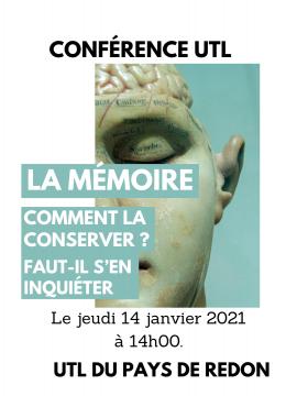 Conférence UTL : La mémoire, Comment la conserver ? Faut-il s'en inquiéter